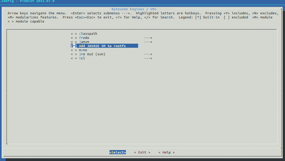 Java SE menu